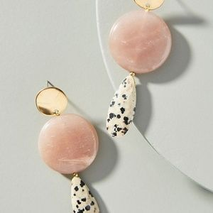 NWT Anthropologie Rose Quartz Jasper Drop Earrings